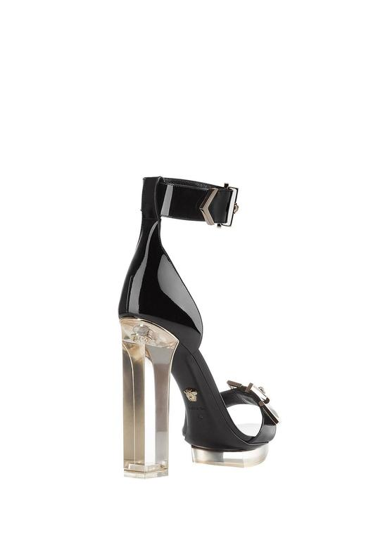 Black New VERSACE black patent leather plexi platform sandals For Sale