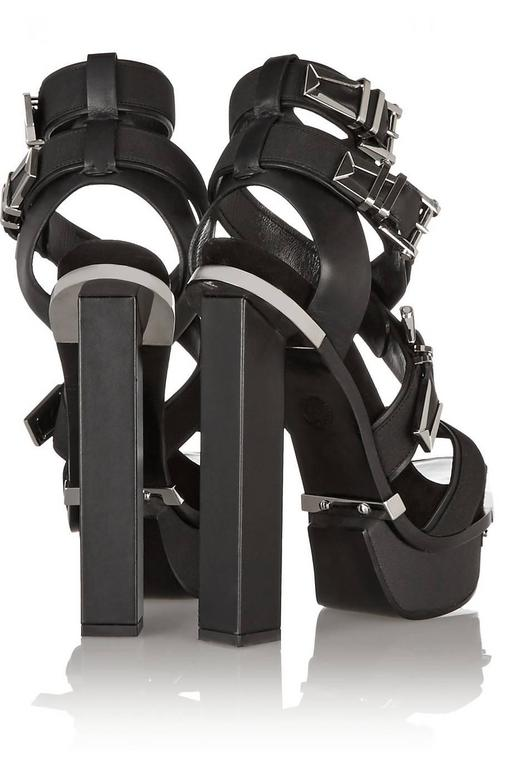 VERSACE Black Leather Canvas Platform Sandals  In Excellent Condition For Sale In Montgomery, TX