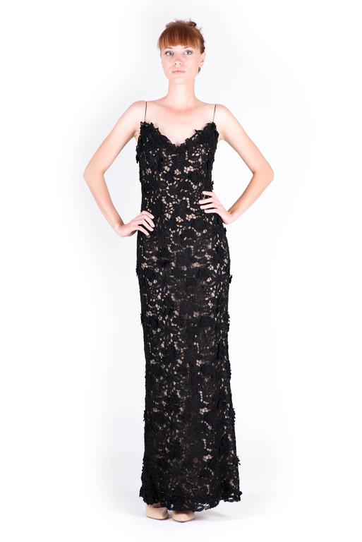 Black  Best Met Ball dress of all time Oscar de la Renta black lace gown  For Sale