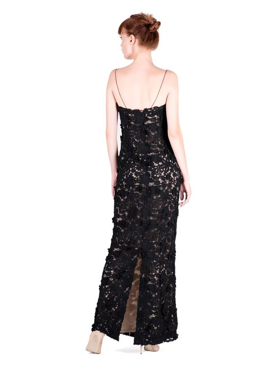 Best Met Ball dress of all time Oscar de la Renta black lace gown  In Excellent Condition For Sale In Montgomery, TX