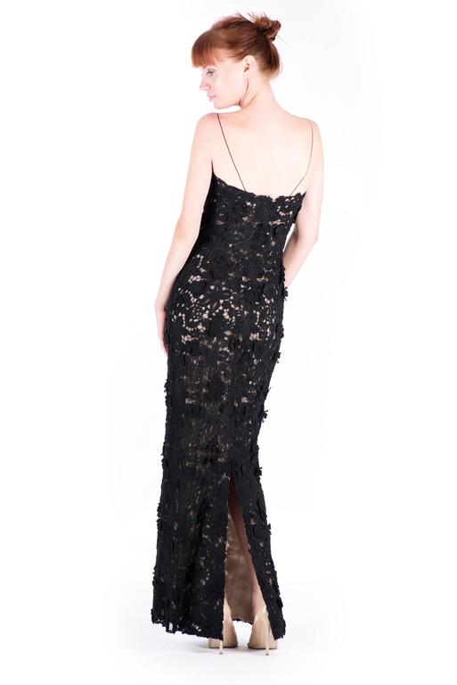 Best Met Ball dress of all time Oscar de la Renta black lace gown  For Sale 1