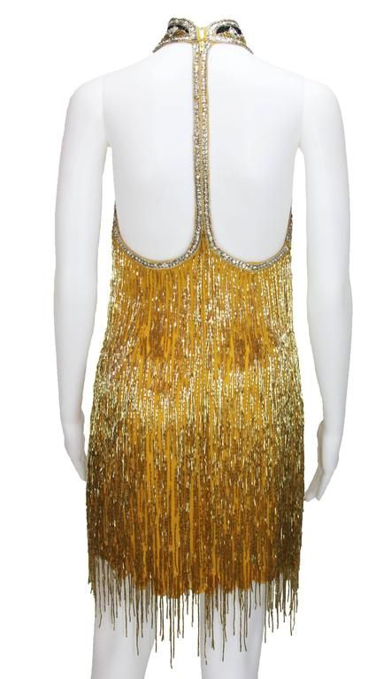 80-s Rare Bob Mackie Gold Beaded Fringe Dress 4