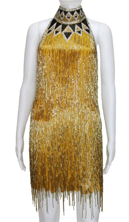 80-s Rare Bob Mackie Gold Beaded Fringe Dress 2