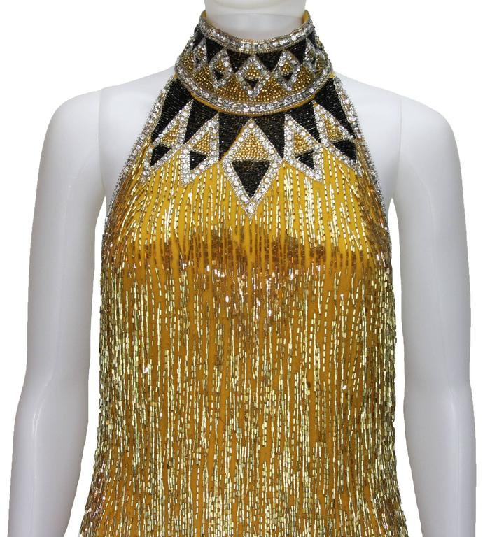 80-s Rare Bob Mackie Gold Beaded Fringe Dress 3