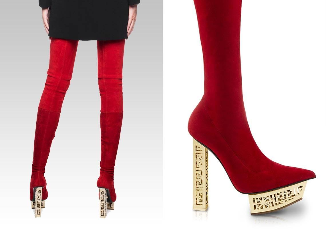 5adc6e6bf81 VERSACE  GREEK RED SUEDE OVER The KNEE BOOTS at 1stdibs