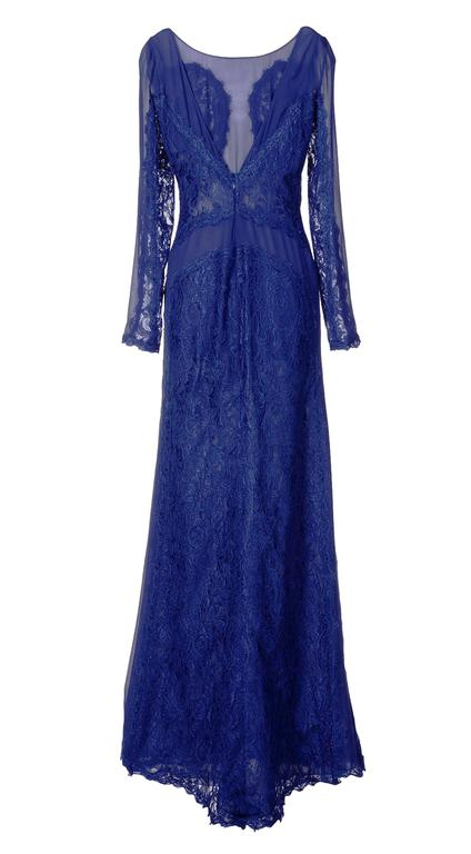 New Emilio Pucci Lace Cheer Blue Dress Gown It.40 2
