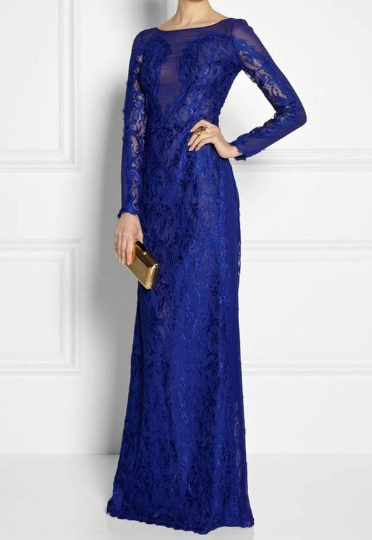 New Emilio Pucci Lace Cheer Blue Dress Gown It.40 5