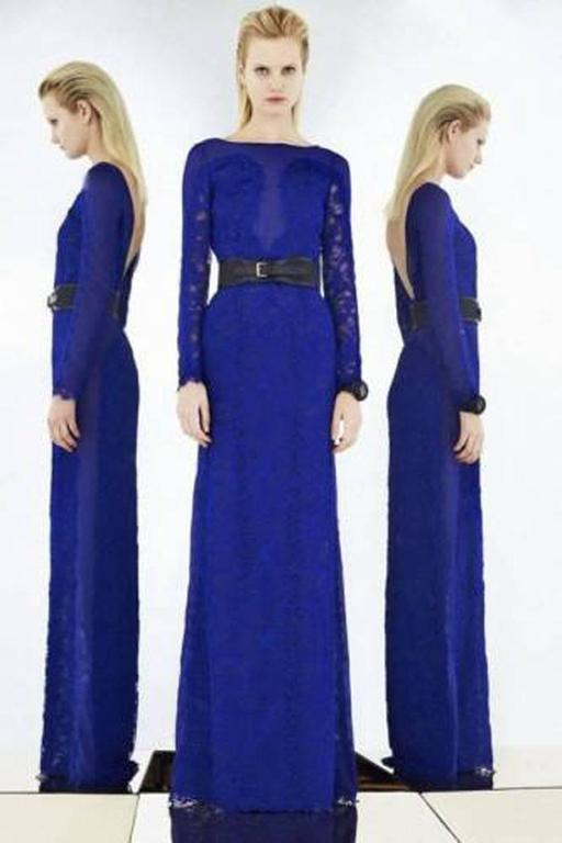 New Emilio Pucci Lace Cheer Blue Dress Gown It.40 6
