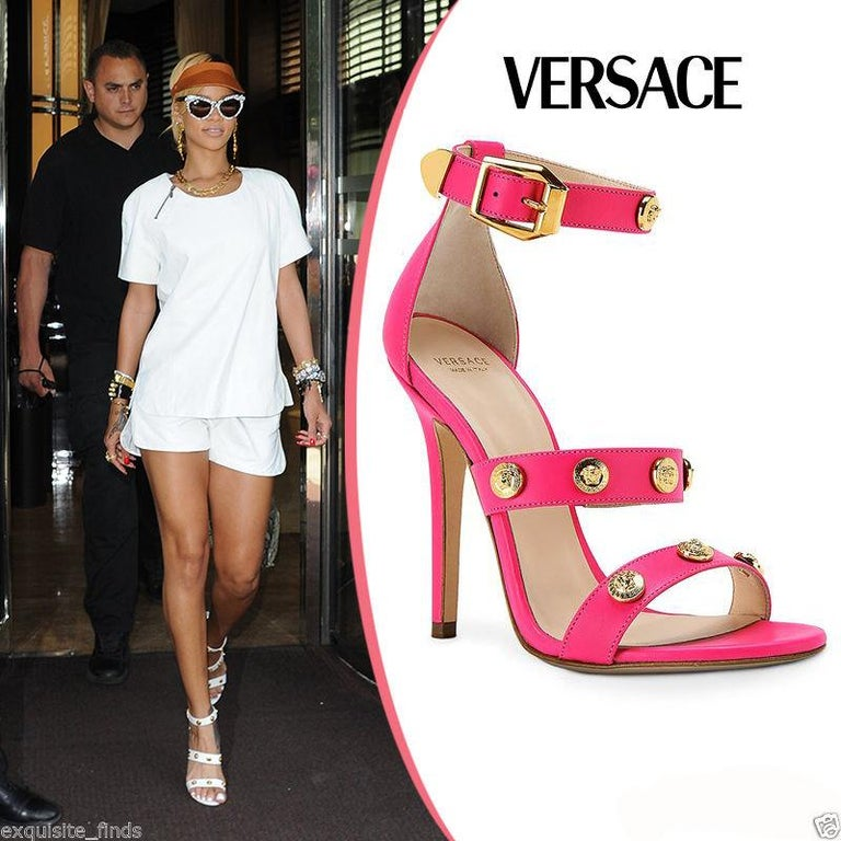 Pink New VERSACE HOT PINK LEATHER SIGNATURE MEDUSA STUDDED SANDALS For Sale