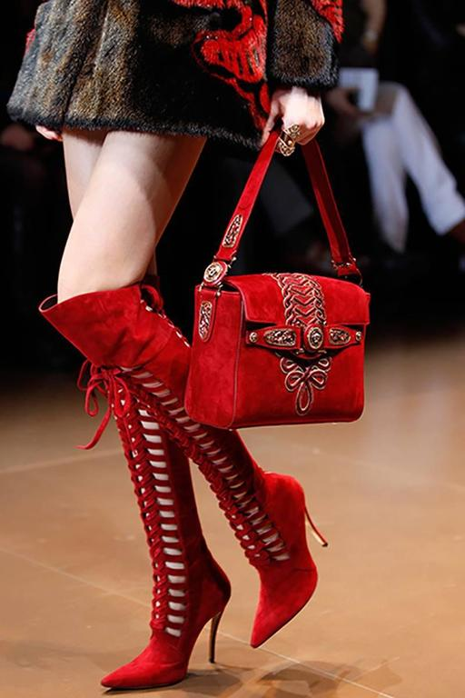 New Versace Burgundy Red Suede Boots 3