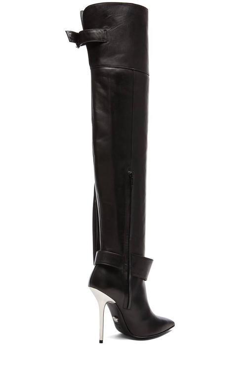 Versace Black Leather Thigh High Boots with Tassel  3