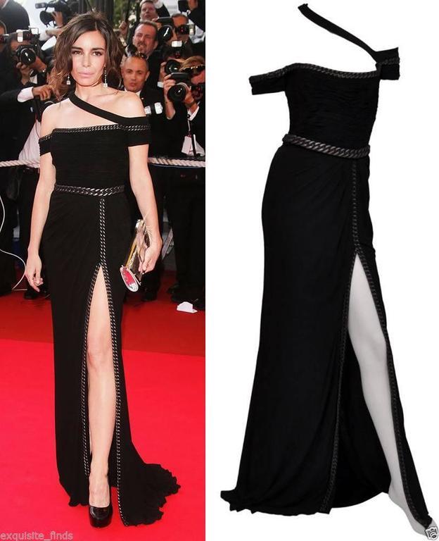 New VERSACE BONDAGE CHAIN EMBELLISHED LONG BLACK DRESS 3