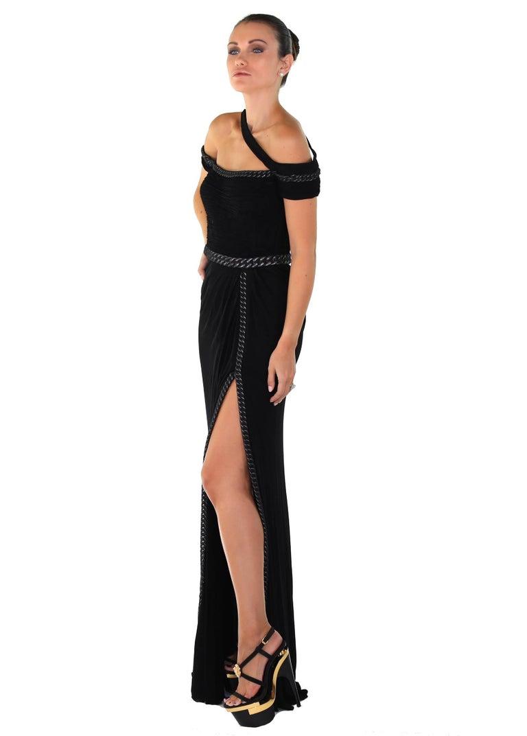 Women's New VERSACE BONDAGE CHAIN EMBELLISHED LONG BLACK DRESS For Sale
