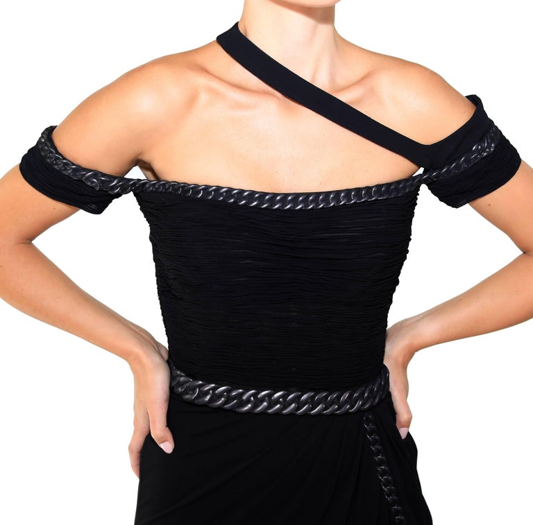 New VERSACE BONDAGE CHAIN EMBELLISHED LONG BLACK DRESS For Sale 2