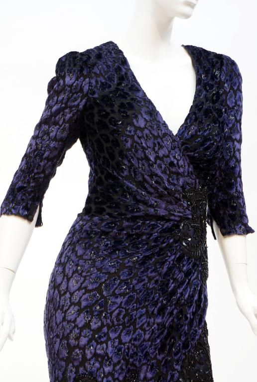Andrew Gn leopard print devore velvet dress  Finished with embroidery  3/4 sleeves  FR size 38 - US 6  Excellent