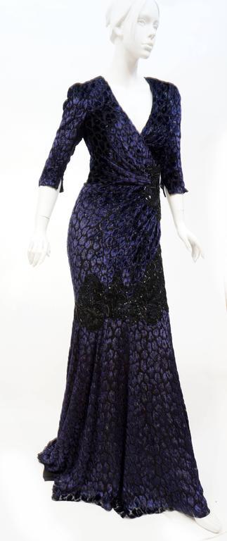 Black Andrew Gn embellished midnight leopard print devore velvet dress For Sale