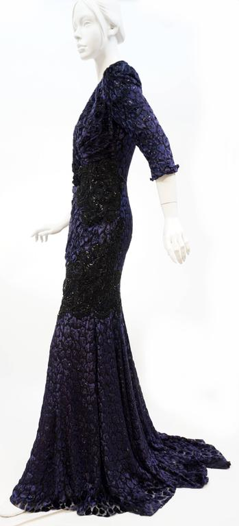 Andrew Gn embellished midnight leopard print devore velvet dress In Excellent Condition For Sale In Montgomery, TX