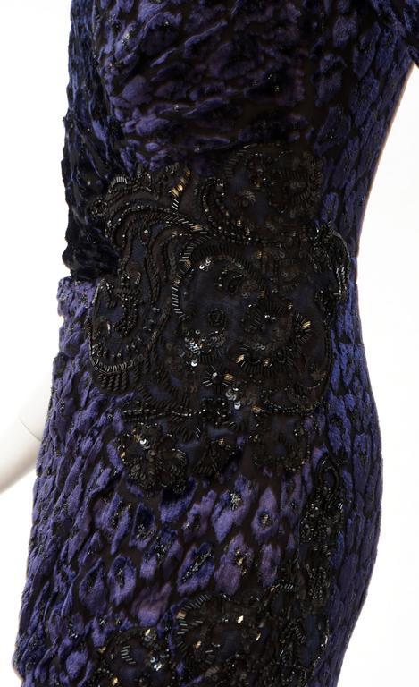Women's Andrew Gn embellished midnight leopard print devore velvet dress For Sale