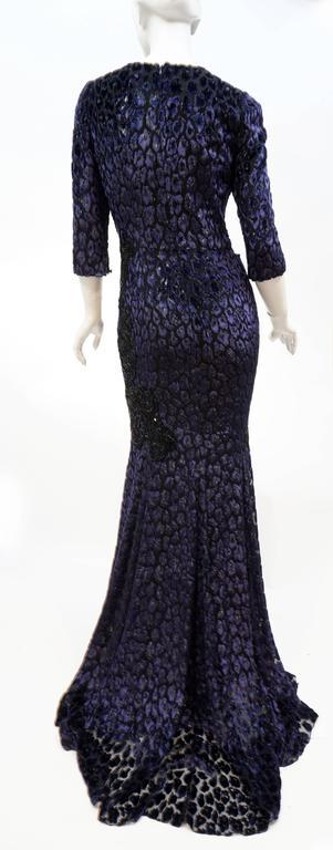Andrew Gn embellished midnight leopard print devore velvet dress For Sale 1
