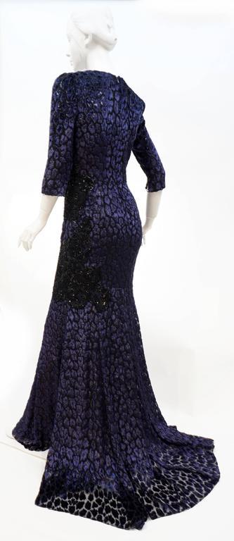 Andrew Gn embellished midnight leopard print devore velvet dress For Sale 2