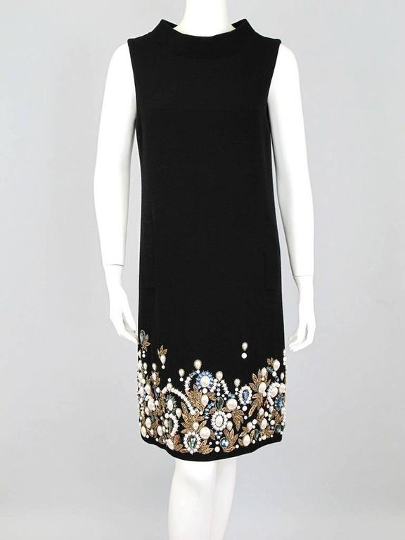 Oscar De La Renta Black Wool Cocktail Dress with Gem Embroidery size 6 2