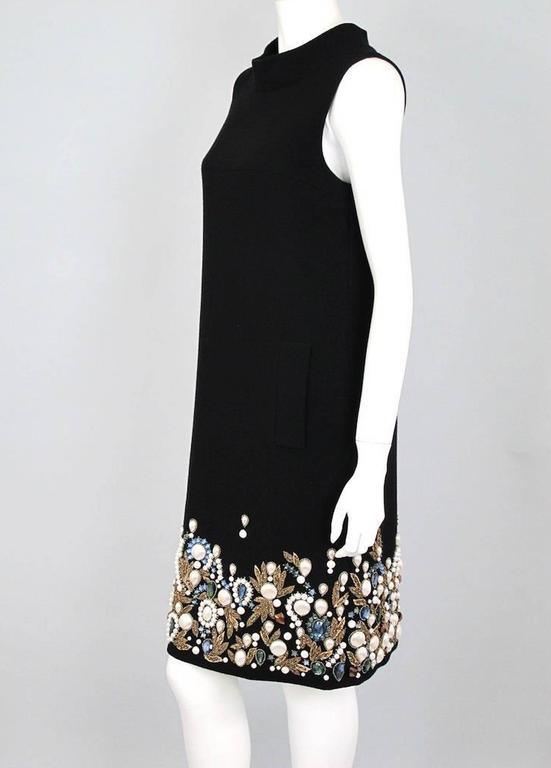 Oscar De La Renta Black Wool Cocktail Dress with Gem Embroidery size 6 3