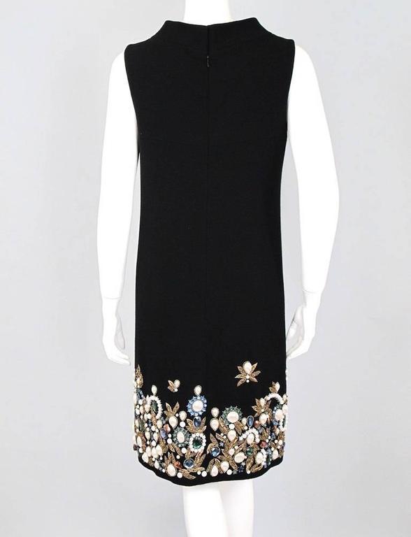 Oscar De La Renta Black Wool Cocktail Dress with Gem Embroidery size 6 4