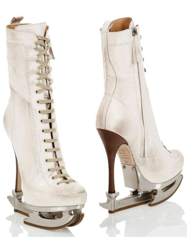 New DSQUARED2  ICE SKATE WHITE ANKLE LEATHER BOOTS size 39 7