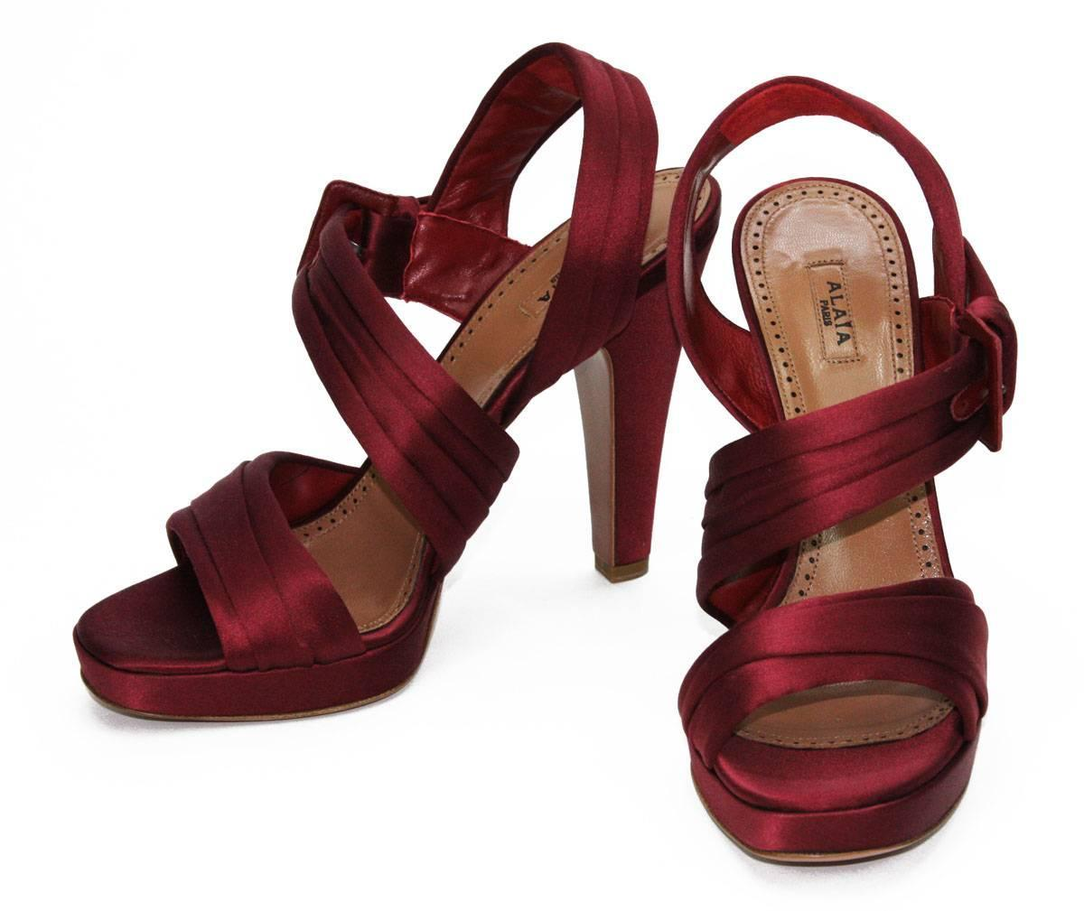 new azzedine alaia satin maroon platform shoes sandals it