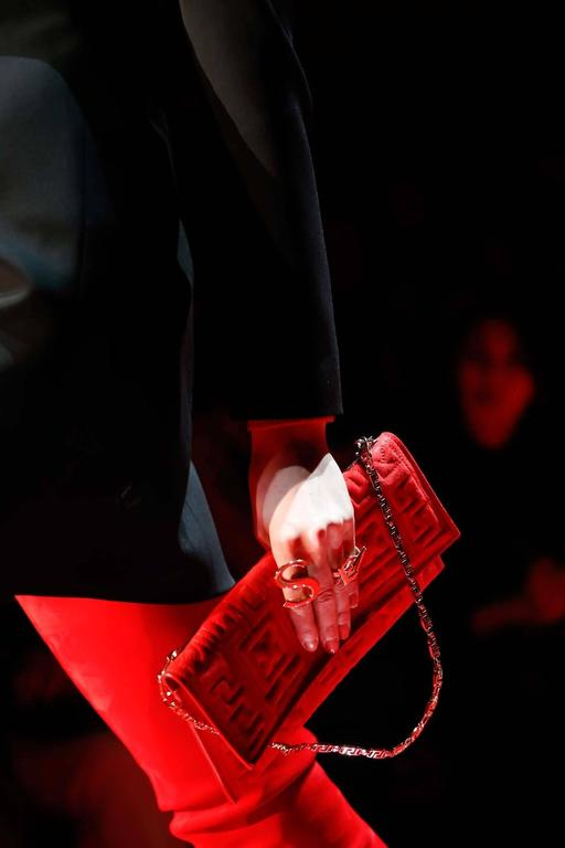 Versace #GREEK red suede leather clutch  2
