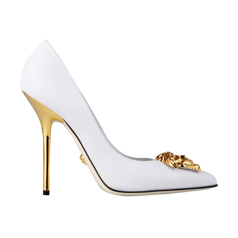 Versace Palazzo White Leather Pump  Size 37  New
