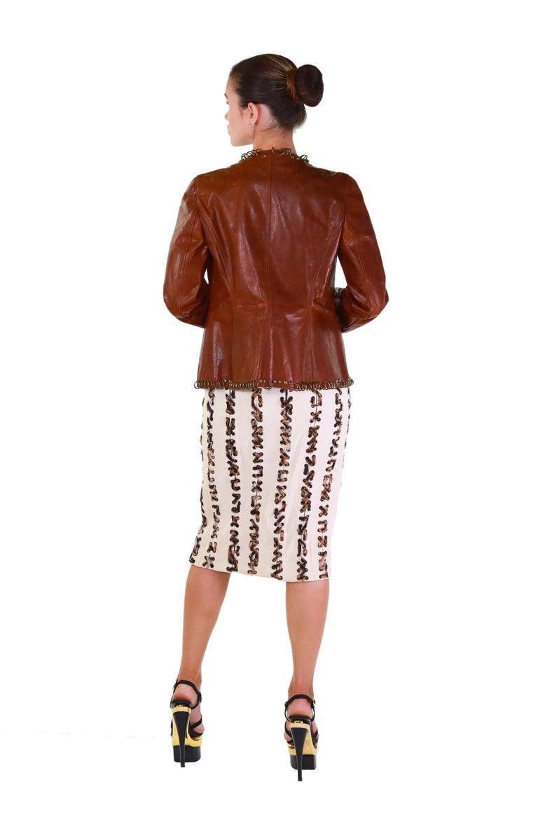 Tom Ford for YSL ring embellished safari cognac leather jacket, S/S 2002  5