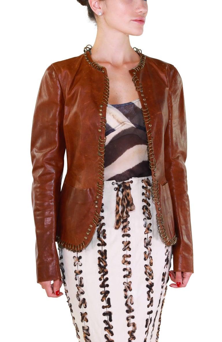 Tom Ford for YSL ring embellished safari cognac leather jacket, S/S 2002  2