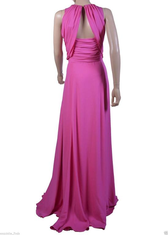 VERSACE Pink Matte Chiffon Gown In New never worn Condition For Sale In Montgomery, TX