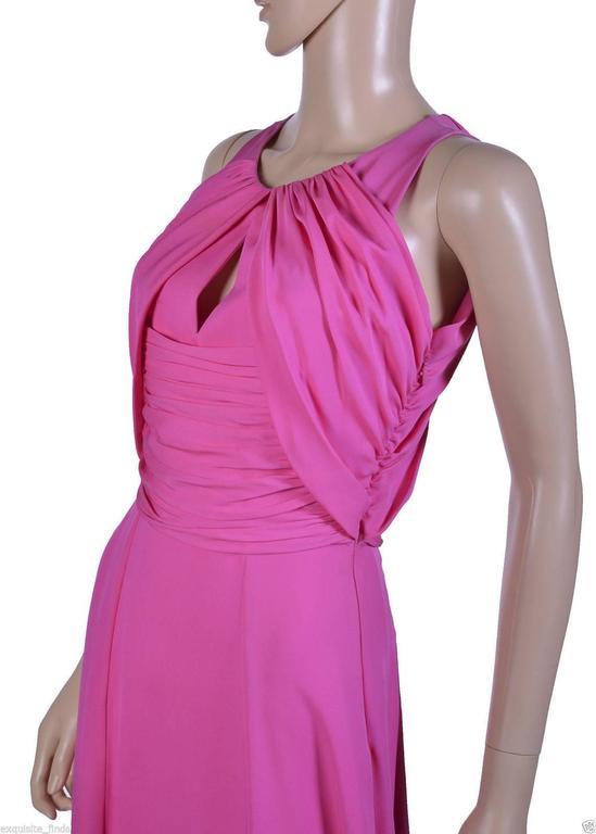 VERSACE Pink Matte Chiffon Gown 4