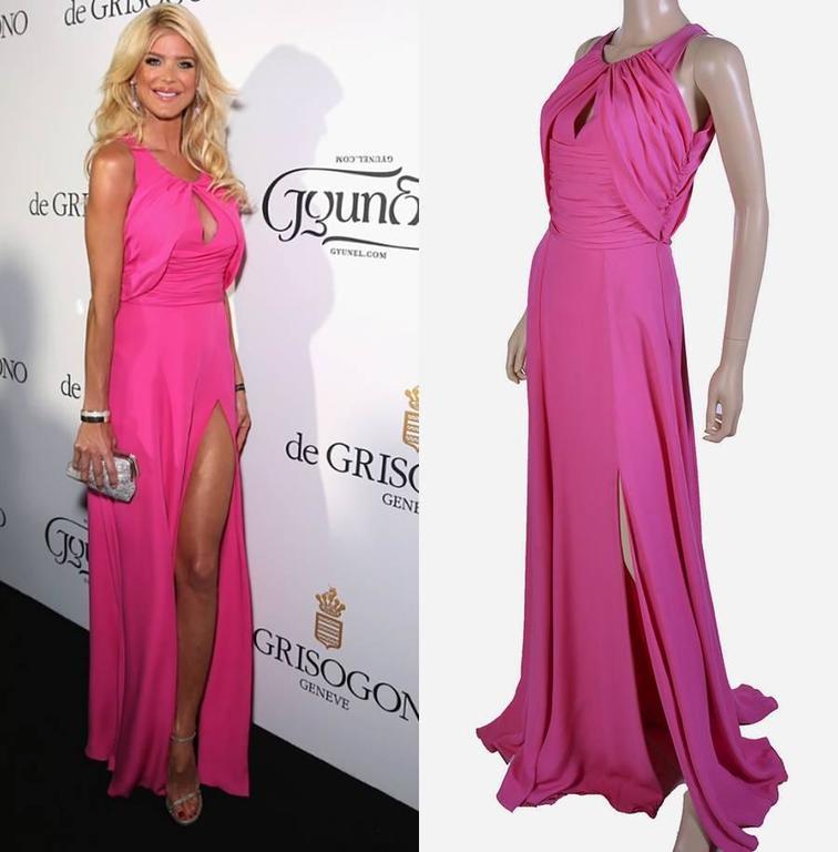 VERSACE Pink Matte Chiffon Gown 2