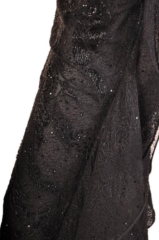 S/S 1999 VERSACE ATELIER RUNWAY BLACK BEADED GOWN WORN by CARMEN KAAS For Sale 2