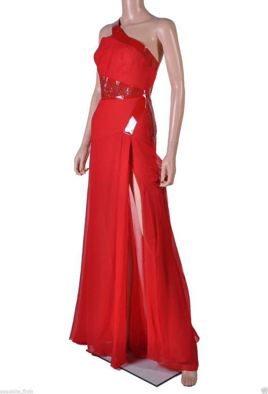 Versace Red Silk Chiffon Gown Dress with Patent Leather  2