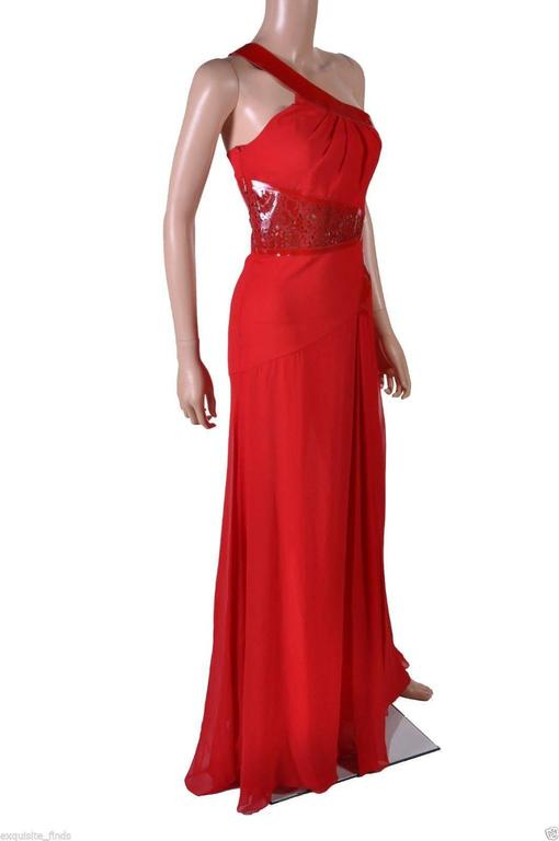 Versace Red Silk Chiffon Gown Dress with Patent Leather  3