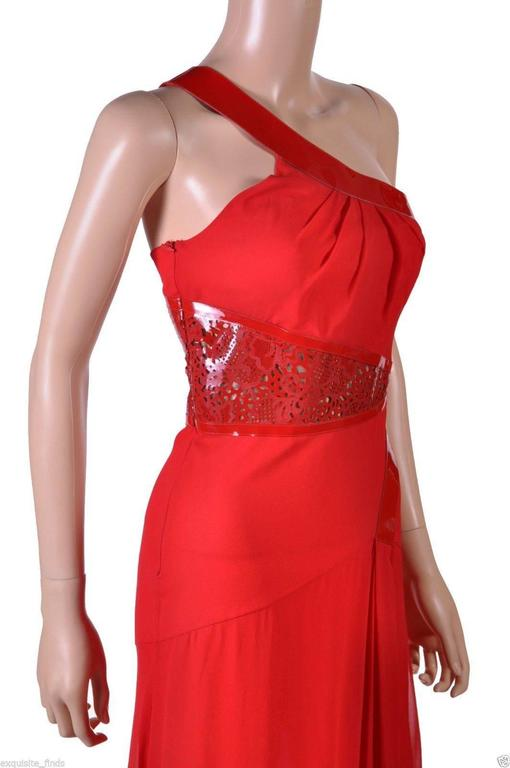 Women's Versace Red Silk Chiffon Gown Dress with Patent Leather  For Sale