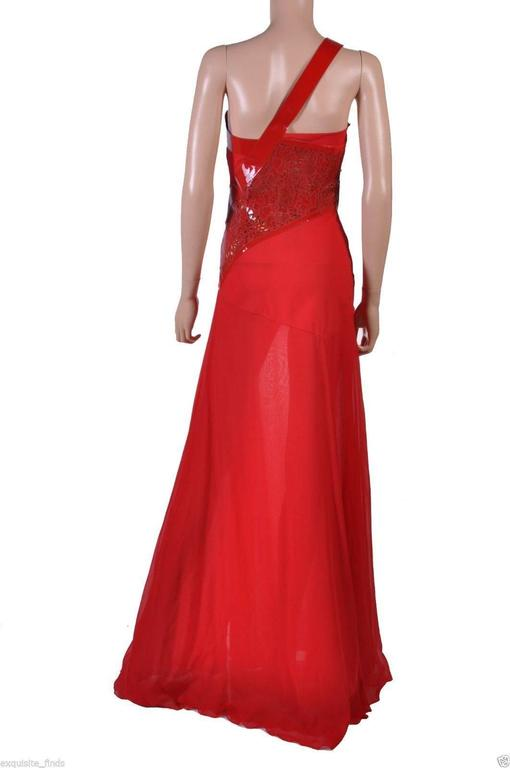 Versace Red Silk Chiffon Gown Dress with Patent Leather  For Sale 1