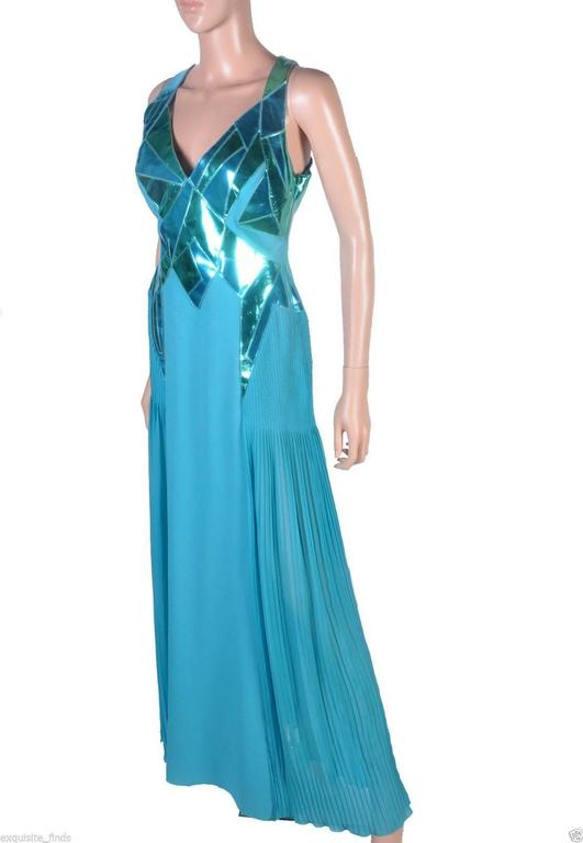 VERSACE Turquoise Silk and Patent Leather Gown 2