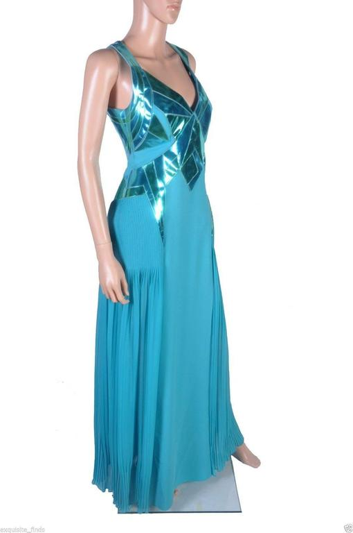 VERSACE Turquoise Silk and Patent Leather Gown 4