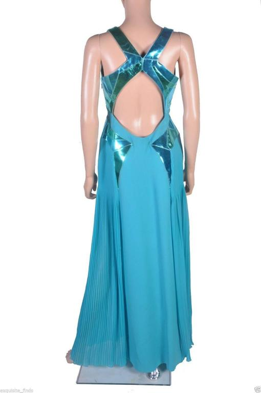 VERSACE Turquoise Silk and Patent Leather Gown 5