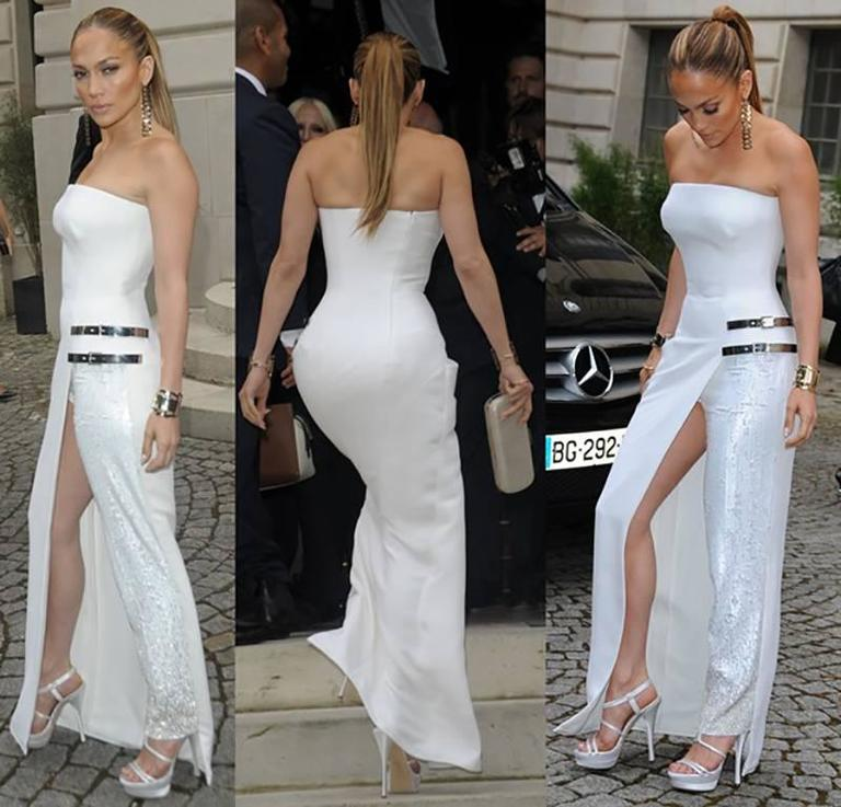 Gray VERSACE white silk double platform sandals as seen on Jennifer and Irina For Sale