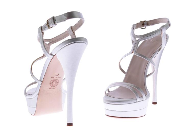 VERSACE white silk double platform sandals as seen on Jennifer and Irina 6
