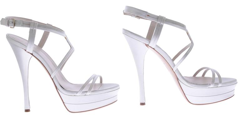 VERSACE white silk double platform sandals as seen on Jennifer and Irina For Sale 2