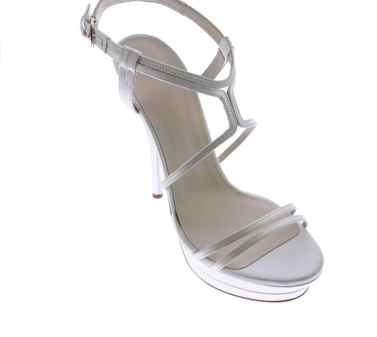 VERSACE white silk double platform sandals as seen on Jennifer and Irina For Sale 3