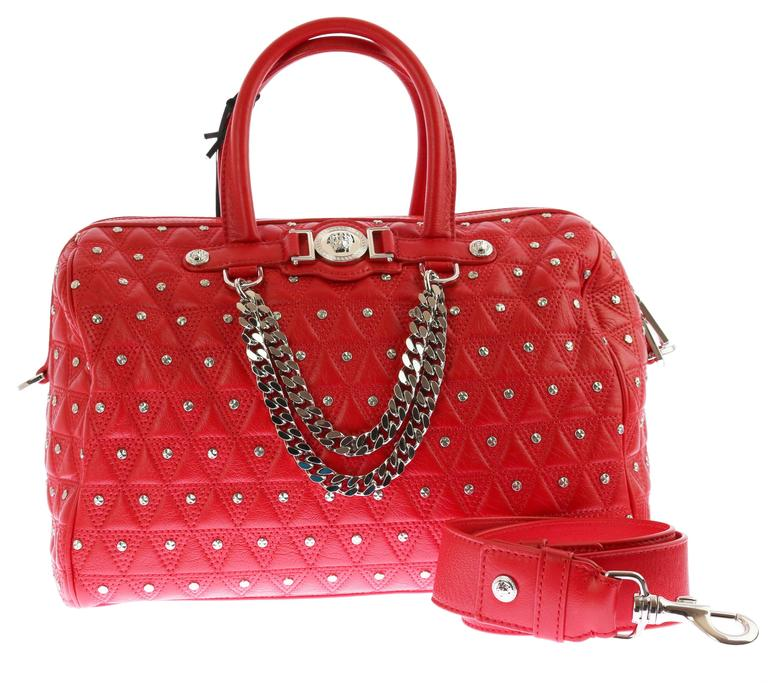 "VERSACE ""Signature"" Studded Red Leather Duffle Bag 2"