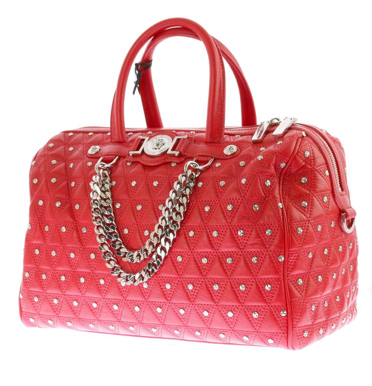 "VERSACE ""Signature"" Studded Red Leather Duffle Bag 3"